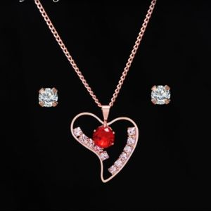 Rose Gold Red Crystal Heart Necklace & CZ Studs